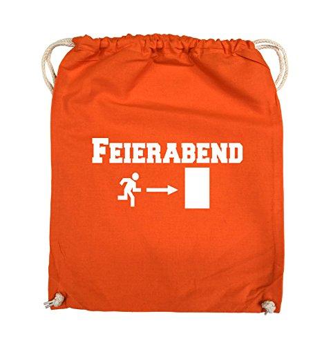 Comedy Bags - FEIERABEND - EXIT - Turnbeutel - 37x46cm - Farbe: Schwarz / Silber Orange / Weiss
