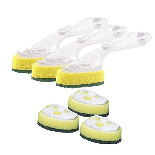 AMhomely Küchen-Spülbürste, Spülbürste mit Seifenschale, Hydraulische automatische Spülschwämmchen zum Hinzufügen von Spülmittel mit langem Griff 3 Spülköpfe und 6 Ersatzköpfe (Orange) -