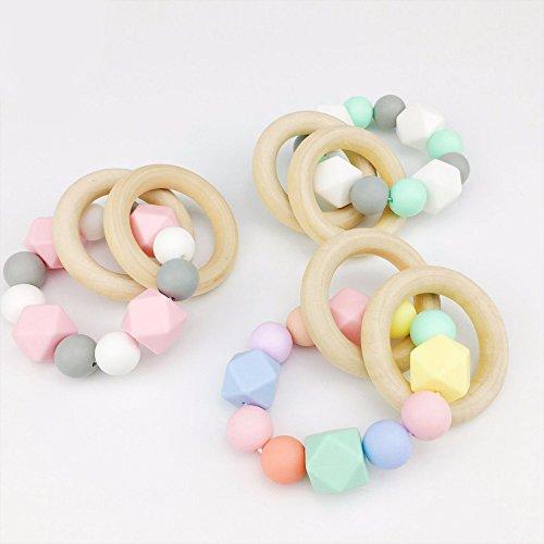 Best for baby 3pc Silikon Armband Baby zahnen Nursing Zubehör hölzern Ring Silikon Perlen Montessori Spielzeug