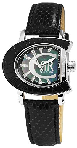 Cerruti Montre pour femme avec bracelet en cuir véritable noir/bleu/argenté acier inoxydable élégant ccrw0013a214u