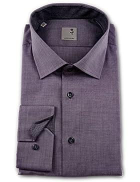 Seidensticker Herren Langarm Hemd Schwarze Rose Slim Fit Business Kent Patch rot strukturiert 245856.48