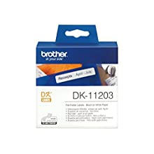 Brother DK-11203 Label Roll, File Folder Labels, Black on White, 17 mm (W) x 87 mm (L), 300 Label Roll, Brother Genuine Supplies