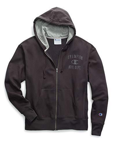 Champion Men's Heritage Fleece Zip Hoodie Distressed C Logo Distressed Zip Hoodie