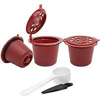 3 filtros de cápsulas de café reutilizables rellenables para cafetera Nespresso, rosso