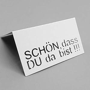 AniPolDesign Tischkarten/Schön dass DU da bist/Platzkarten zum selbst Beschriften 10 Stück in Weiß Tischdeko