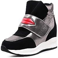 LIANGXIE Vestido Formal de Las Mujeres Cuña Invisible Tacón Velcro Moda Zapatos Deportivos Cuero Zapatos de algodón de Las Mujeres más Terciopelo Caliente (Color : Black Plus Velvet, tamaño : 36)