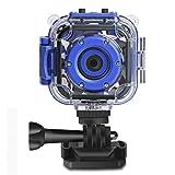 Drograce Kinder-Kamera, Video-Kamera, 1080p, wasserdicht, Action-Kamera, für Jungen und Mädchen, mit integriertem Spiel, Blau