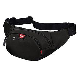 Yooluan wasserdichte Gürteltasche Bauchtasche 3 Reißverschluss Taschen Wandern Outdoor Sport Hüfttasche Urlaub Geld Pouch Pack (Schwarz)