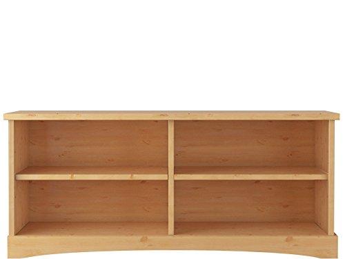 Komplett Wohnwand YORK 2 VITRINE WOHNZIMMER MÖBEL aus Kiefer massiv Massivholz in gebeizt geölt, weiß & honig, weiß (gebeizt geölt) - 4