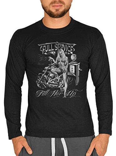 Biker / Motorrad Motiv Longsleeve : Fill her up -- Langarmshirt Herren Schwarz