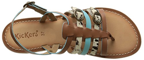 Kickers - Dixmille, Sandali Donna Multicolore (Camel/Beige/Turquoise)