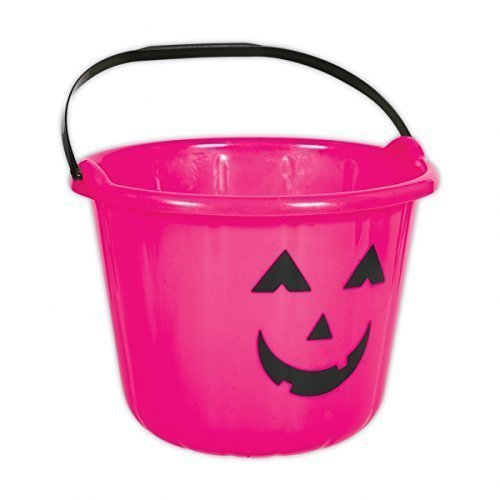 Amscan Pink Kürbis Halloween-Trick or Treat Eimer aus Kunststoff, 6 Stück