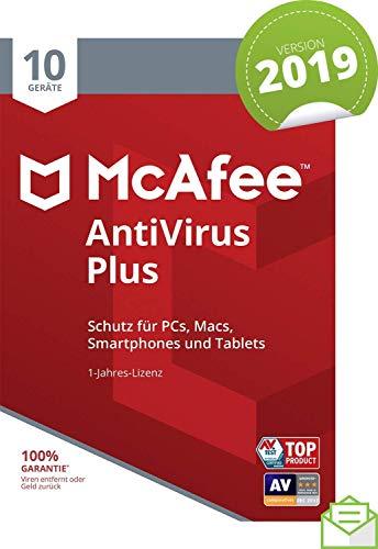 McAfee AntiVirus Plus 2019 | 10 Geräte | 1 Jahr | PC/Mac/Smartphone/Tablet | Aktivierungscode per Post