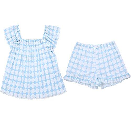 Schlafanzug Mädchen Sommer reine Baumwolle cute Lotusblatt Seite kurze Ärmel square Halsband wave point Shorts lose Comfort Home entsprechen, L/Hellblau M/Hellblau
