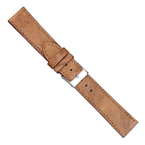 Milano 18 (Uhrbanddealer Unisex Uhrenarmband 18mm Ersatzband Milano Leder Vintage Optik Honig 196418s)