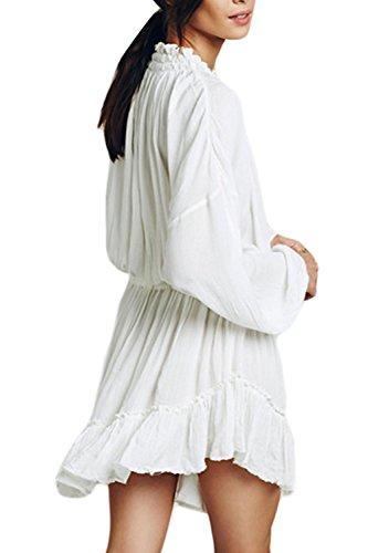 Les Femmes Élégantes Deeo V Cou Long Manche Énervé Swing Tunique Robe white