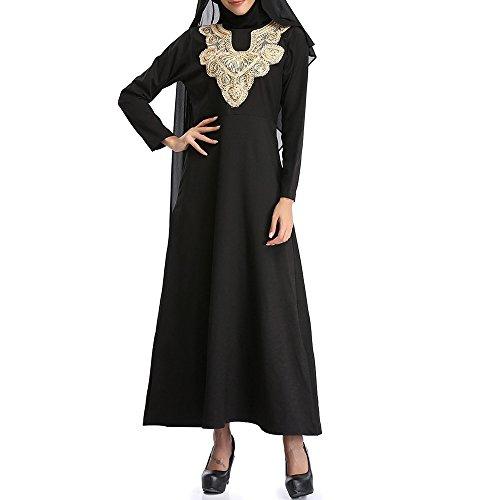 FRAUIT Damen Frauen Übergröße Einfarbig Kleid Besticken Nahen Osten Langes Kleid Nonne-Roben Musselin Nahen Osten Kleid (Nonne Kostüm Für Verkauf)