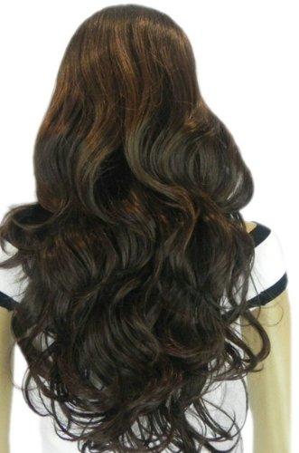 QIYUN.Z Haarteile Damen Perücken Lange Schwarze Lockige Braune Gewellte Pony Keine Hitzebeständige Faser Synthetische Haar Voller Anime Cosplay Kostüm Perücke (Kostüm Lange Braune Haare)