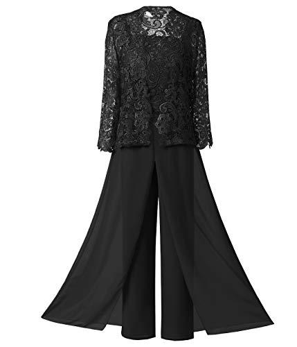 Pretygirl Damen damen 3 Stücke Elegante Spitze Brautmutterkleid Hose passt halben Ärmeln mit Jacke Outfit Bräutigam(US 14, Schwarz) -