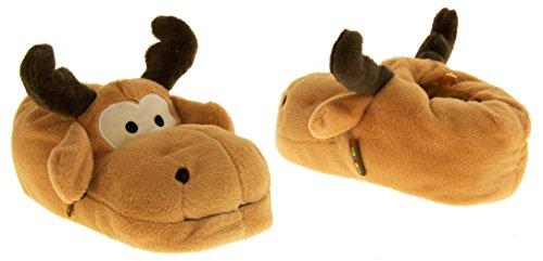 De Fonseca Herren Jungen Tier Neuheit Pantoffeln Schlupfstiefel Rentier Braun / Moose
