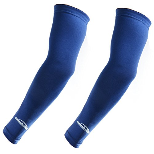 COOLOMG Arm Sleeves Outdoor Sports Athletic Protection Long Cover Compression Base Layers 11 Solid Colors 5 Sizes Including Kids Sold in Pair Navy Blue XL