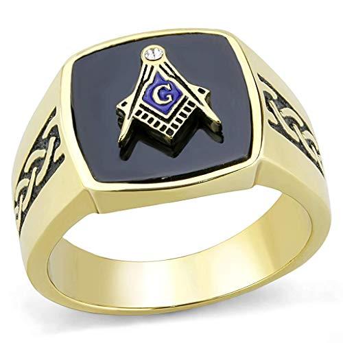 ISADY - Adelin Gold - Herren Ring - Siegelring - Franc-maçonnerie - Freimaurer - Tempelritter - Edelstahl - T 70 (22.3) - Ringe Freimaurer Diamant