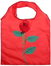 Almighty Multiples Eco-Friendly Rose Printed Folding Shopping Bag, Pack Of 6 (Red & Pink)