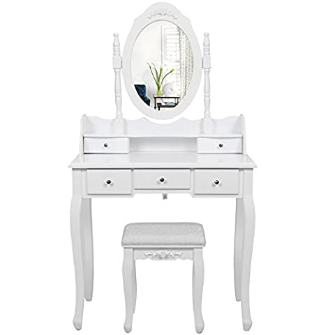 Songmics Coiffeuse table blanche de maquillage avec miroir, 5 tiroirs,