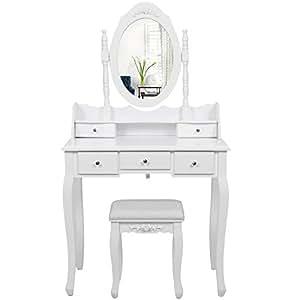 Songmics coiffeuse table blanche de maquillage avec miroir for Miroir 3 faces pour coiffeuse