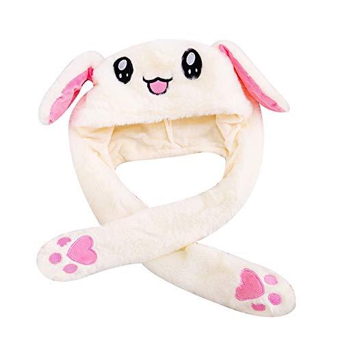 Cozyhoma Plüsch-Hasen-Hut mit beweglichen Ohren, lustiger Hase, lustiger Hase mit bunten LED-Lichten, Cartoon-Hut, Plüschtier Hut (Erwachsene Weiße Kaninchen Hut)