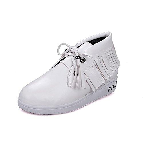Brancos Do Baixo Rendas Bombas Senhoras Redondo Salto Pura Macio Material Sapatos Allhqfashion Dedo Pé CxgR6q
