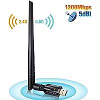 ANEWKODI 1200Mbps USB Wireless Adaptador USB 3.0 de Alta Velocidad WiFi Adaptador 5dBi Antena WiFi USB Tarjeta de Red Dual Band 2.4G / 5.8G 867Mbps 802.11ac/b/g/n Receptor WiFi Dongle WiFi para PC Windows 10 / 8.1 / 8/7 / Vista MAC OS