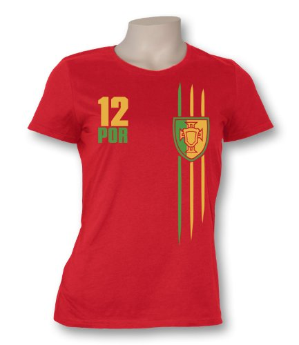 Luckja Damen T-Shirt WM 2014 Portugal Trikot Fanshirt