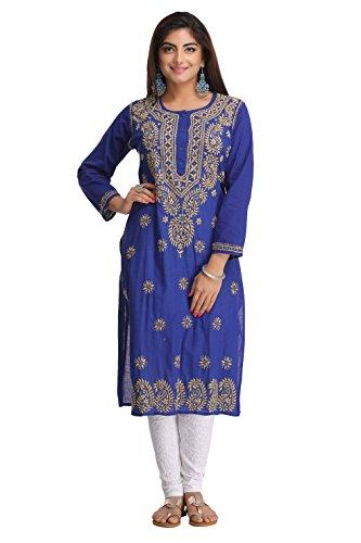 ADA Hand Embroidered Lucknow Chikan Casual Cotton Kurta Kurti A188245