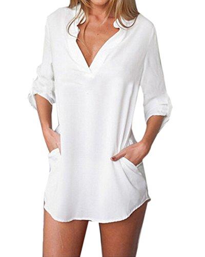 ZANZEA Donna Sexy V-Neck Chiffon Maniche Lunghe Camicetta Camicia Tops Shirt Bianco IT 48/US 16