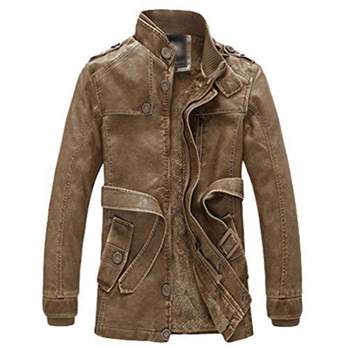 Rinalay Herren Winter Langarm Leder Und Business Schick Herbst Mantel Parka Lässig Klassisch Jacke Mit Zipper Mit Gürtel LederMäntel (Color : Br?unen, Size : XL)