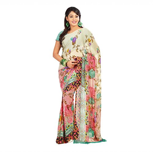 Shaktideal Dailywear light weight printed sarees grey and red