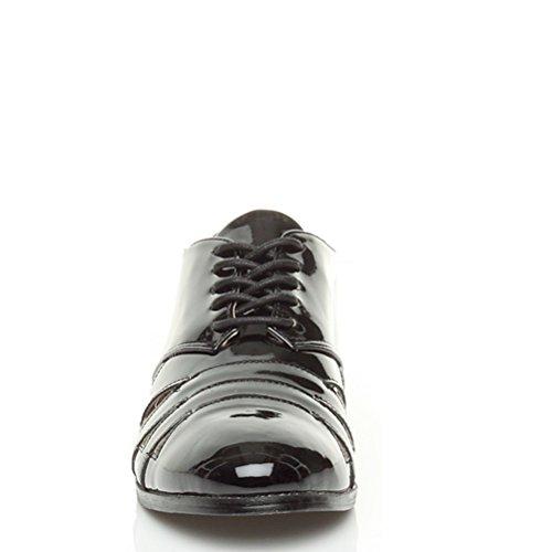 Femmes plat talon bas découper lacets école travail chaussures richelieu taille Verni noir
