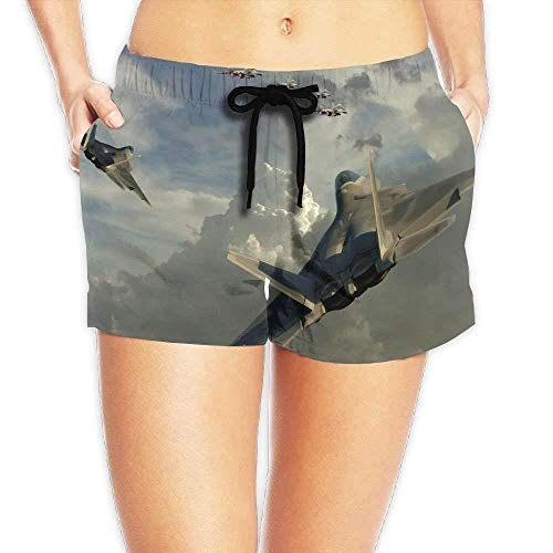 Women's Elastic Waist Casual Beach Shorts Drawstring Dogfight Jet Fighter Shorts Swim Trunks Medium -