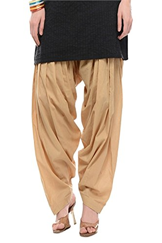 Pistaa Beige Womens Pure Cotton Patiala salwar