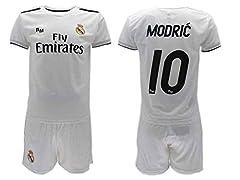 Idea Regalo - Completo Ufficiale Real Madrid Modric Bianco Home 2018 2019 in Scatola Regalo Maglia + Pantaloncini (10 Anni)