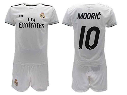 Conjunto Fútbol Luka Modric 10 Real MADRIC C.F. Blancos Temporada 2018-2019 Replica Oficial con Licencia - Caja de Regalo Camiseta + Pantalón Corto (6 AÑOS)