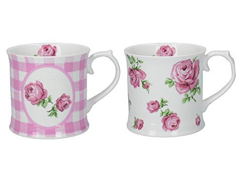 Katie Alice Vintage Roses Floral bedruckte Tassen aus Porzallan, 420 ml - Rosa (2er-Set) -