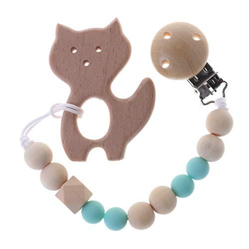 e Holz Natürliche Silikon Perlen Schnullerclip Stillkette Baby Dusche Geschenk (Grün) ()