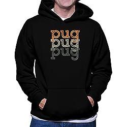 Sudadera con capucha Pug repeat retro