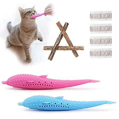 Aifeer Interactive Cat Toothbrush, Katzenspielzeug Dental Toy Nachfüllbare Katzenminze Silikon Molar Stick Zahnreinigung Spielzeug für Kätzchen Katzen (9er Pack)