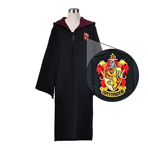 Manteau Harry Potter Costume de Sorcier - Robe de Gryffindor et Slytherin Cosplay Cape Noire avec Capuche (Red, L)