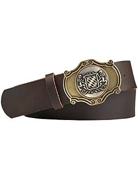 Wappen Trachten-Leder-Gürtel mit Druckknopfriemen Rindsleder Schliesse messing/silber antik Farbe dunkelbraun
