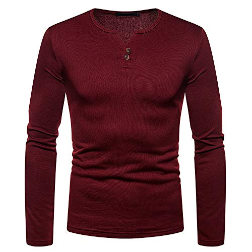 Diesel Long Sleeve Sweater (ZIYOU Herren Slim fit Sweatshirts, Herbst Winter Casual Langarm Button Shirt mit V-Ausschnitt Basic Longsleeve Sweater Pullover (2XL,Weinrot))