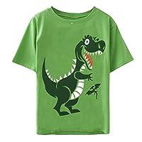Toddler Baby Boys Tops Cartoon Dinosaur Shark Print Tees Kids Cotton Clothes Summer Short Sleeves T-Shirts (6T/6-7 Years, Green Dinosaur)